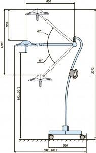 Схема расположения передвижного хирургического диагностического  светильника
