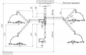 Схема светильника операционного потолочного «ЭМАЛЕД 500\500\X»