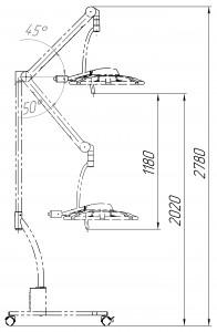 Схема передвижного диагностического  светильника