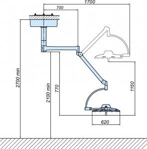 Схема светильника операционного потолочного ЭМАЛЕД 500