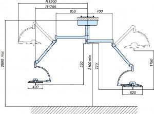 Схема потолочного медицинского светильника 500 300