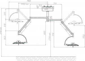 Схема потолочного медицинского светодиодного светильника 500 500