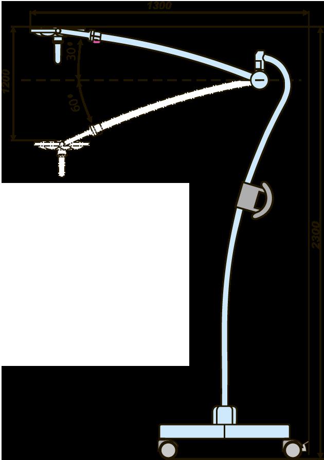 Схема расположения передвижного светодиодного медицинского светильника